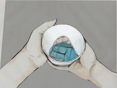Vuoksi on juomalasi, jonka muotokieli on inspiroitunut vuorovesi-ilmiöstä, perinteisestä kiinalaisesta riisiposliinista sekä kaleidoskoopeista. Ajatuksena on yhdistää läpinäkyvä pohja, kuin kurkistusaukko käytännölliseen juomalasiin. Valo leikkii juomassa. Esineen olemassaolon tarkoitus on tuoda hetkellisyyttä arkipäivään ja korostaa juodun nesteen kauneutta. Se on suunnattu lasimuotoilua arvostavalle ja visuaalisista leikittelyistä nauttivalle ihmiselle.
